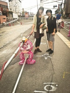 Kotryna su bičiuliu Japonijoje